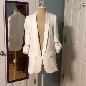 Zara Jackets & Coats - Zara cream blazer with ruching at sleeves